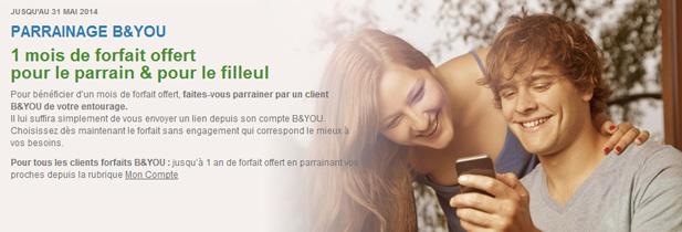 1 an de forfait offert par b&you grâce au parrainage